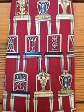 "Vintage UNICEF Neoclassical German Austrian Chairs USA Made 100% Silk Tie 4"""