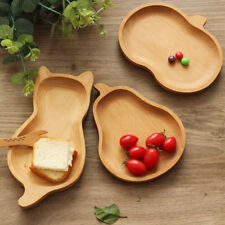 Natural Wood Bamboo Serving Tray Tea Food Server Dish Platter Wooden Plate LC