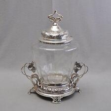 WMF große Jugendstil Bowle, versilbert, um 1900, geschliffenes Glas, RAR
