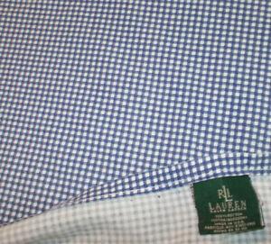 Rare RALPH LAUREN Blue White Gingham Queen Flat Sheet Gwen Beach House