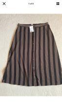 BNWT H&M 14 Ladies Skirt button front Midi striped black beige Vintage Style