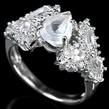 Natural ROSE QUARTZ & White Cubic Zirconia 925 STERLING SILVER RING S7.0
