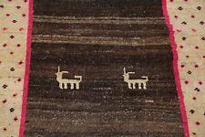 Vintage Little Animal TRIBAL Gabbe Oriental Area Rug Hand-Knotted Kid's Room 4x6