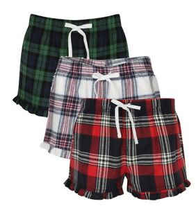 Femmes Filles Rouge Rose Bleu ou Vert Coton Flanelle Écossais Salon Pyjama Short