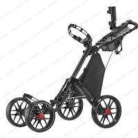 CaddyTek One-Click Folding Golf trolley 4 Wheel Push/Pull Cart V3-Dark Grey*NEW*