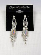 New Iridescent Aurora Borealis Silver Rhinestone Crystal Dangle Earrings Pageant