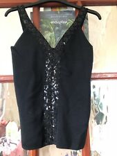 Women and Ladies black sequinned and wool mixed strappy top size S-M.