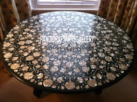 "48"" Black Marble Round Dining Table Top Handicraft Mosaic Kitchen Work H3095A"