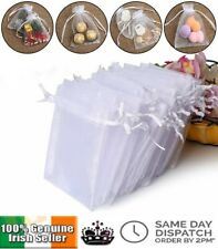 White Organza Favour Bags Wedding Party Cake Sweets Drawstring Gift Bag 7 x 9cm