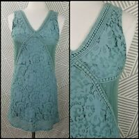 Francescas size XS Lace Tunic Top sleeveless lined dusty antique blue Womens