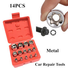 14X Torx Socket Bit E-Type Chrome Vanadium Bright Chrome Tools Set E4-24 Durable