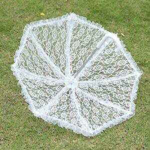 1X White Lace Wedding/Bridal Ruffle Parasol Umbrella
