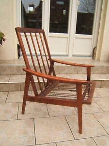 ancien fauteuil scandinave en teck design vintage des année 50 60