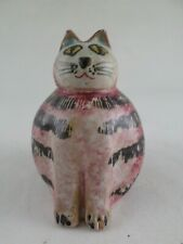 "Small 3"" Hand-Painted Pottery Clay Fat Purplish Pink Cat Made in Italy Vintage"