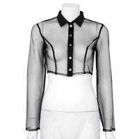 Women Sheer Mesh See Through Long Sleeve Shirt Turn-down Collar Crop Top Blouse