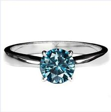 BLUE DIAMOND SOLITAIRE RING 0.50 CWT 10K WHITE GOLD ENGAGEMENT EARTH MINED APRIL