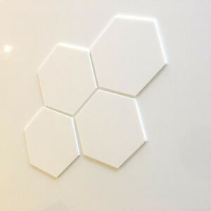 Hexagonal Acrylic Wall Tiles - White (other colours available)
