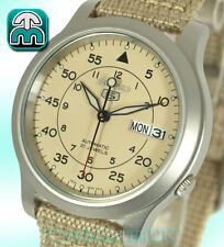 SEIKO 5 MEN'S AUTOMATIC BEIGE FACE NYLON STRAP MILITARY STYLE SNK803K2 SNK803