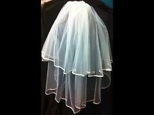 Veil White Bridal Satin Edge 2 Tier No Crystal Wedding Comb Bride Accessory New