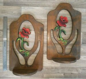 Large Vintage Rustic Wall Shelves Hand Painted Poppy Flowers Carved