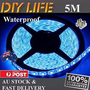 12V Waterproof Blue 5M 5050 SMD 300 LED Strips Led Strip Lights car boat Camping