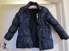 Girls Navy Padded Coat / Puffa Jacket by H&M - 7 - 8 years - missing hood