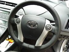 REAL BLACK LEATHER STEERING WHEEL COVER BEIGE STITCH FOR TOYOTA PRIUS MK2 03-09
