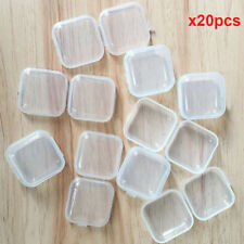 Hot 20Pcs Plastic Mini Clear Small Box Hook Jewelry Earplugs Container Storage