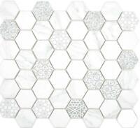 GLAS Mosaik Hexagon Sechseck ECO carrara Wand Küche Theke  16-0222_b