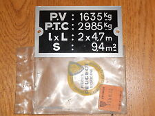 Peugeot J7 J9 plaque de tare alu neuf origine d'epoque ref 754034
