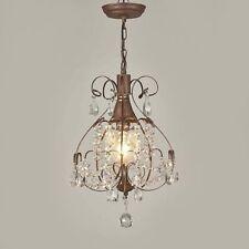 Rustic Crystal Chandelier Vintage Lighting Light Fixture Antique Brushed Oak Vp