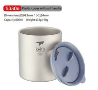 Keith 600ml Titanium Cup Camping Mug Picnic Hiking Titanium Double-wall Mug