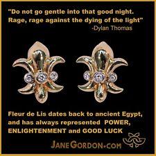 NEW: Fleur de Lis Stud Earrings-Diamonds-18K Gold or Sterling Silver-Power-Lucky