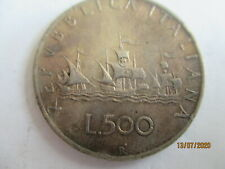 ITALY SILVER 500 LIRE COIN DATED 1959  VF