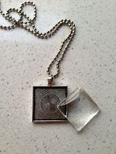 """10 x DIY jewellery square antique silver tray pendant chain kit - 25mm or 1"""""""