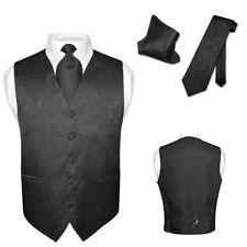 Men's Dress VEST NeckTie for Suit Tuxedo PAISLEY Design Mens Vests Tie Hanky Set