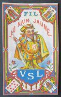 Ancienne étiquette FIL DE LIN NAIN JAUNE carte card linen thread label 13