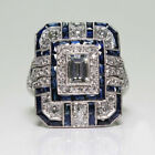 Gorgeous Jewelry 925 Silver Rings Blue Sapphire For Women Wedding Ring Size 6-10
