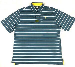 FootJoy Men's Short Sleeve Teal White Striped Yellow Golf Polo Shirt Size L EUC
