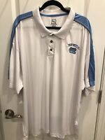NWT Mens NCAA UNC North Carolina Tar Heels White Silky Polo Shirt - Sz 4XL