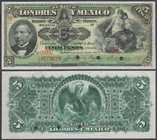 Mexico - Banco Londres, SPECIMEN! 5 Pesos SPECIMEN!, ND, VF+++, P-S233