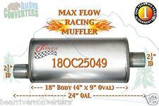 "Max Flow Muffler 18"" Oval Body 2 1/2"" 2.5"" Pipe Offset/Center 24"" OAL 18OC25049"