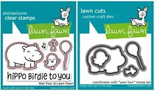Lawn Fawn Photopolymer Clear Stamp & Die Combo ~ YEAR FOUR  Hippo ~ LF655, LF660