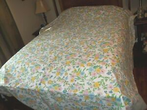 Vintage Perma Prest Sears Percale Gorgeous Floral Flower Queen Flat Sheet