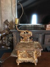 Antique West Slern  Ind. Cast Iron Salesman Sample or Childs Toy Wood Stove Lamp
