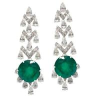 Perfect Round Cut 18.17CT Zambian Emeralds With 5.36CT White CZ Art Deco Earring