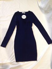 BNWT SHAREEN COLLECTIONS LADIES FASHION NAVY KNITTED DRESS SIZE S/M 8/10