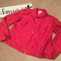 Cold water Creek Women's Blouse Red Silk Eyelet Size M BF050