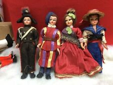 Set Of (4) Vintage 5,25� Ethnic Dolls - Full International Dressed