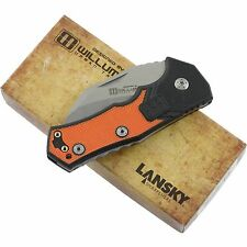 Lansky Madrock World Legal Pocket Knife Hawkbill Folding Blade Orange Black